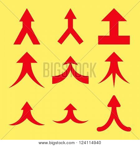 Join Arrows Up vector icon set. Collection style is red flat symbols on a yellow background. Join Arrows Up icons.