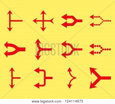 Junction Arrows Left vector icon set. Collection style is red flat symbols on a yellow background. Junction Arrows Left icons.
