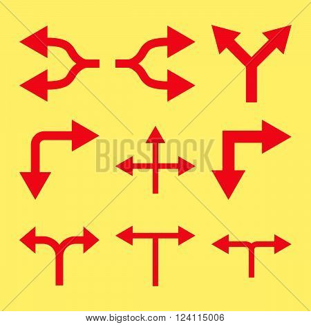 Junction Arrows vector icon set. Collection style is red flat symbols on a yellow background. Junction Arrows icons.
