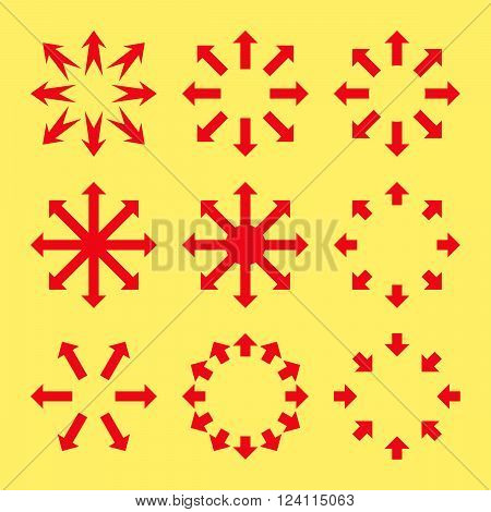 Maximize Arrows vector icon set. Collection style is red flat symbols on a yellow background. Maximize Arrows icons.