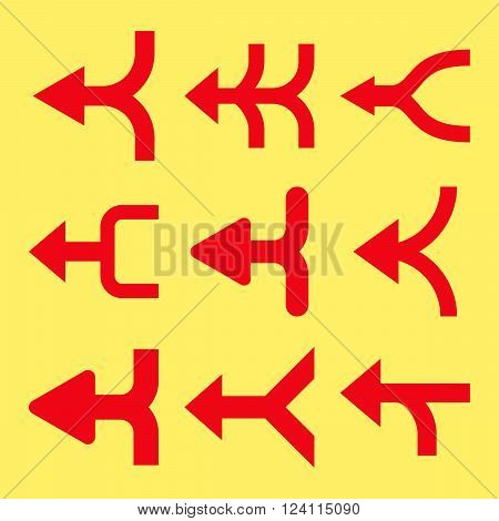 Merge Arrows Left vector icon set. Collection style is red flat symbols on a yellow background. Merge Arrows Left icons.