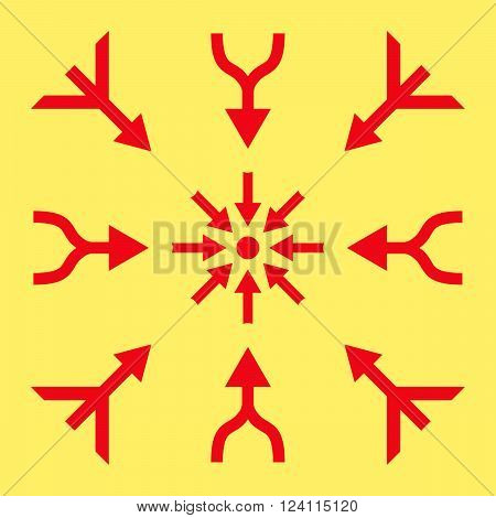 Merge Arrows vector icon set. Collection style is red flat symbols on a yellow background. Merge Arrows icons.