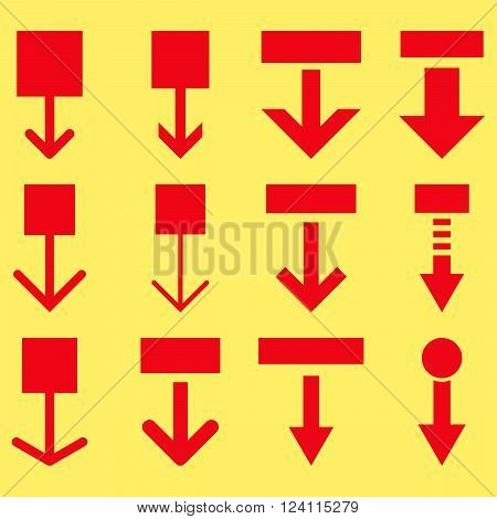 Pull Down vector icon set. Collection style is red flat symbols on a yellow background. Pull Down icons.