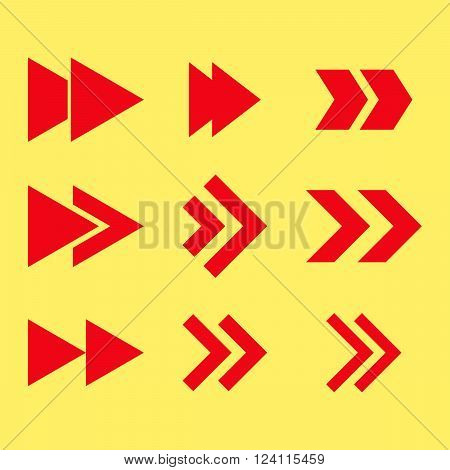 Right Direction vector icon set. Collection style is red flat symbols on a yellow background. Right Direction icons.