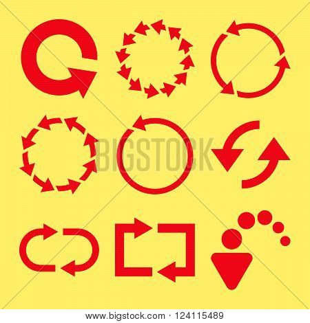 Rotate Arrows vector icon set. Collection style is red flat symbols on a yellow background. Rotate Arrows icons.