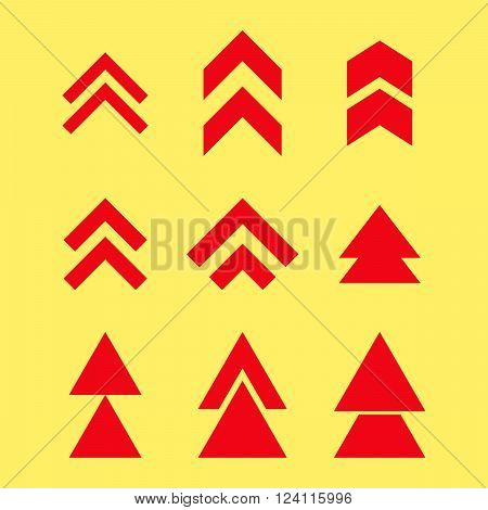 Up Direction vector icon set. Collection style is red flat symbols on a yellow background. Up Direction icons.
