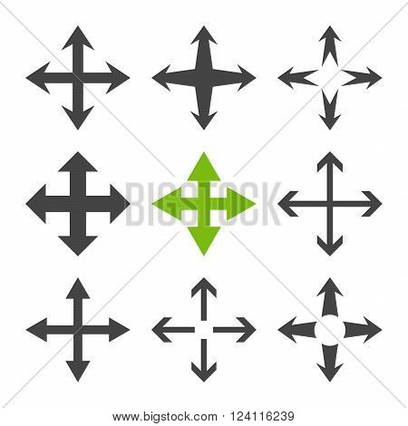 Expand Arrows vector icon set. Collection style is bicolor eco green and gray flat symbols on a white background. Expand Arrows icons.