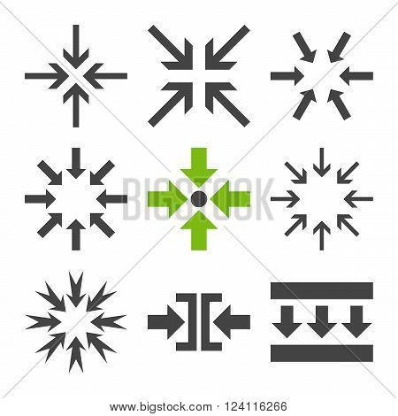 Minimize Arrows vector icon set. Collection style is bicolor eco green and gray flat symbols on a white background. Minimize Arrows icons.