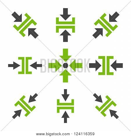 Pressure Directions vector icon set. Collection style is bicolor eco green and gray flat symbols on a white background. Pressure Directions icons.