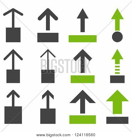 Pull Up vector icon set. Collection style is bicolor eco green and gray flat symbols on a white background. Pull Up icons.