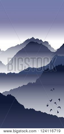 View of blue mountains with birds and fog. Mountain landscape.
