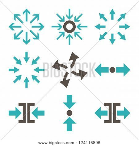 Compress and Explode Arrows vector icon set. Collection style is bicolor grey and cyan flat symbols on a white background. Compress And Explode Arrows icons.