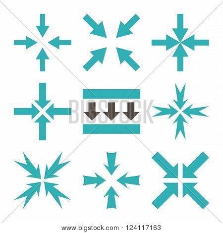 Pressure Arrows vector icon set. Collection style is bicolor grey and cyan flat symbols on a white background. Pressure Arrows icons.