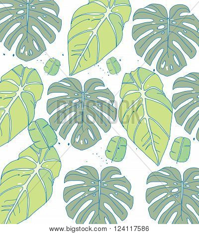 drawing, tropical plant,leaves of different shapes, you can use for printing on fabric and clothes, vector illustration tropicheskih leaves