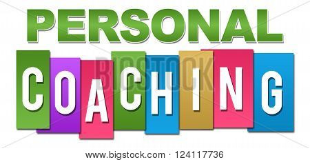 Personal coaching text written over colorful background.