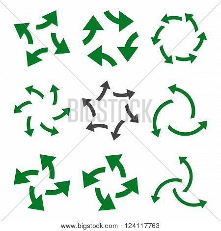 Centrifugal Arrows vector icon set. Collection style is bicolor green and gray flat symbols on a white background. Centrifugal Arrows icons.