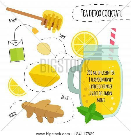 Recipe detox cocktail with green tea, lemon, ginger. Vector illustration for greeting cards, magazine, cafe and restaurant menu. Fresh smoothies for healthy life, diets.