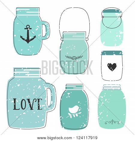 Set of glass jar. Vector illustration. Jar in retro style. Element for design invitation, wedding card, party