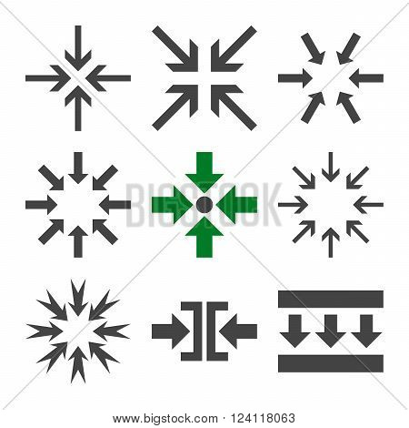 Minimize Arrows vector icon set. Collection style is bicolor green and gray flat symbols on a white background. Minimize Arrows icons.