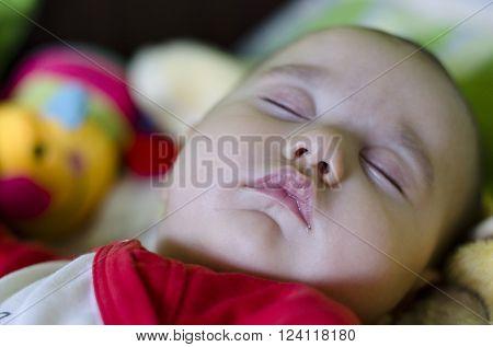 Calm sleeping baby at midday at home