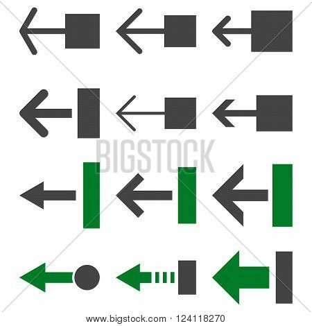 Pull Left vector icon set. Collection style is bicolor green and gray flat symbols on a white background. Pull Left icons.