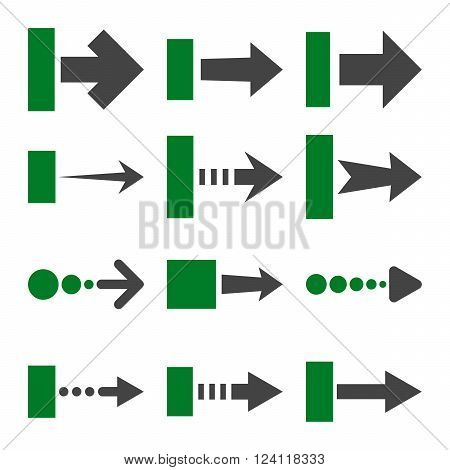 Pull Right vector icon set. Collection style is bicolor green and gray flat symbols on a white background. Pull Right icons.