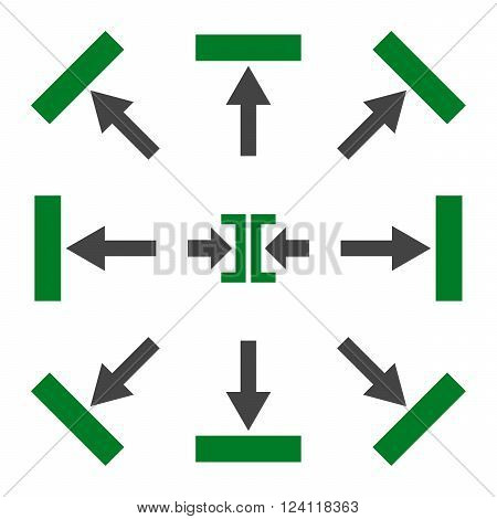 Push Directions vector icon set. Collection style is bicolor green and gray flat symbols on a white background. Push Directions icons.