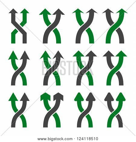 Shuffle Arrows Up vector icon set. Collection style is bicolor green and gray flat symbols on a white background. Shuffle Arrows Up icons.