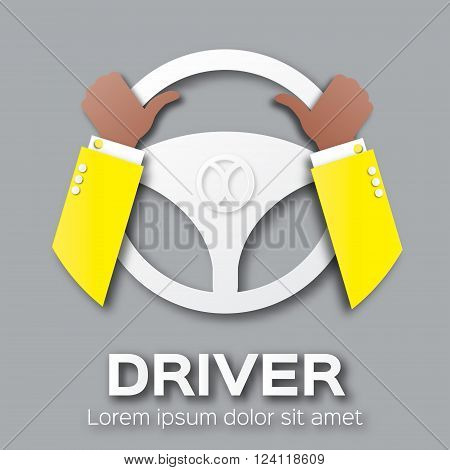 Driver design element with hands holding steering wheel. Origami style. Vector applique illustration.