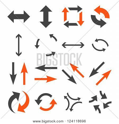 Exchange Arrows vector icon set. Collection style is bicolor orange and gray flat symbols on a white background. Exchange Arrows icons.