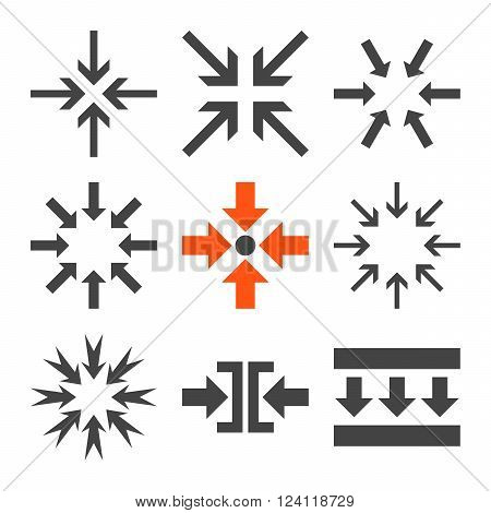 Minimize Arrows vector icon set. Collection style is bicolor orange and gray flat symbols on a white background. Minimize Arrows icons.