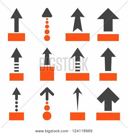 Pull Up vector icon set. Collection style is bicolor orange and gray flat symbols on a white background. Pull Up icons.