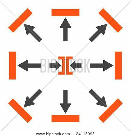 Push Directions vector icon set. Collection style is bicolor orange and gray flat symbols on a white background. Push Directions icons.
