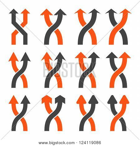 Shuffle Arrows Up vector icon set. Collection style is bicolor orange and gray flat symbols on a white background. Shuffle Arrows Up icons.