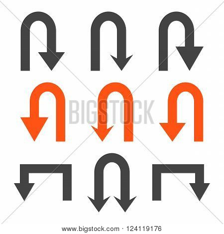 Turn Back Arrows vector icon set. Collection style is bicolor orange and gray flat symbols on a white background. Turn Back Arrows icons.