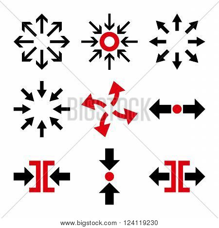 Compress and Explode Arrows vector icon set. Collection style is bicolor intensive red and black flat symbols on a white background. Compress And Explode Arrows icons.