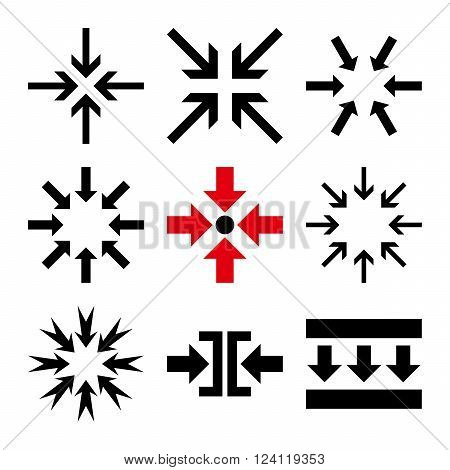 Minimize Arrows vector icon set. Collection style is bicolor intensive red and black flat symbols on a white background. Minimize Arrows icons.