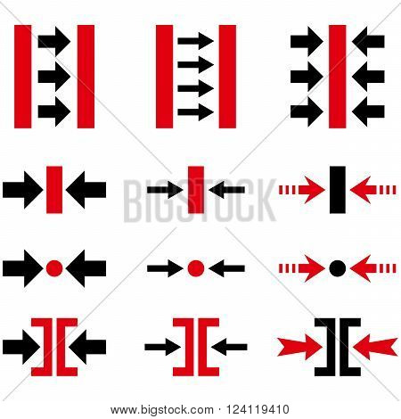 Pressure Horizontal vector icon set. Collection style is bicolor intensive red and black flat symbols on a white background. Pressure Horizontal icons.