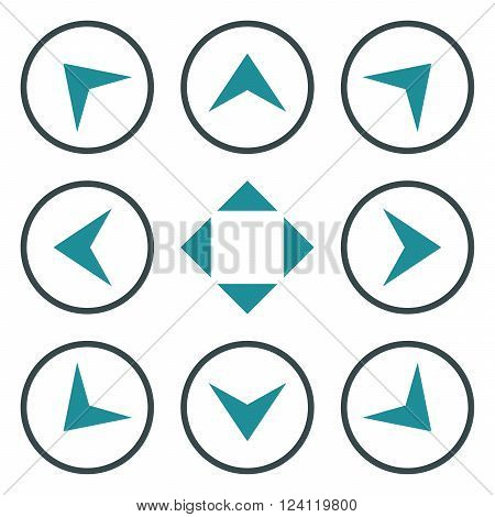 Circled Arrowheads vector icon set. Collection style is bicolor soft blue flat symbols on a white background. Circled Arrowheads icons.