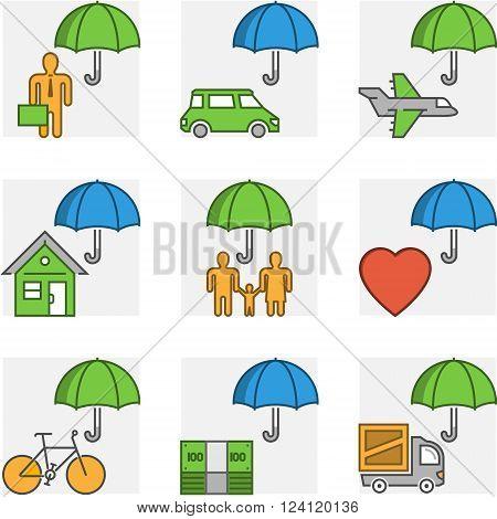 Vector modern line set symbols of insurance. Outline business insurance and cargo insurance. Line property insurance and accident insurance.