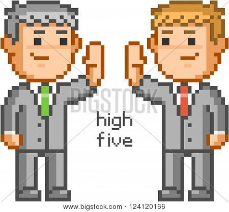 Pixel people and friendly high five. Pixel businessmen and team high five.