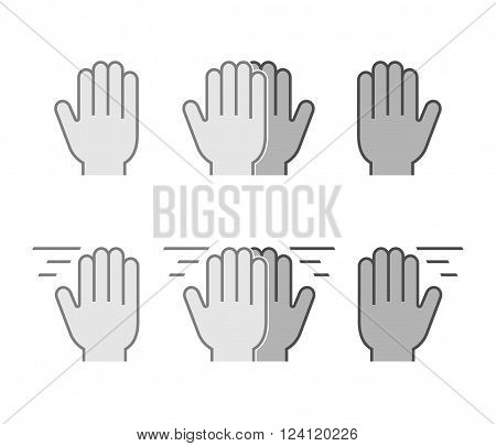 Modern set flat icons high five. Vector symbol line high five. Black friendly high five.