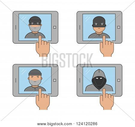Modern icon set cybercrime. Vector symbol of hacking. Line internet thief on a white background.