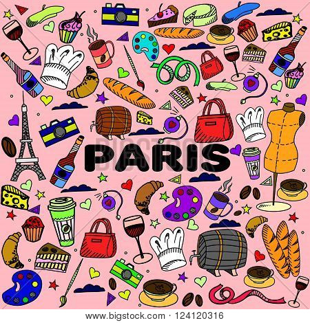 Paris line art design vector illustration. Separate objects. Hand drawn doodle design elements.