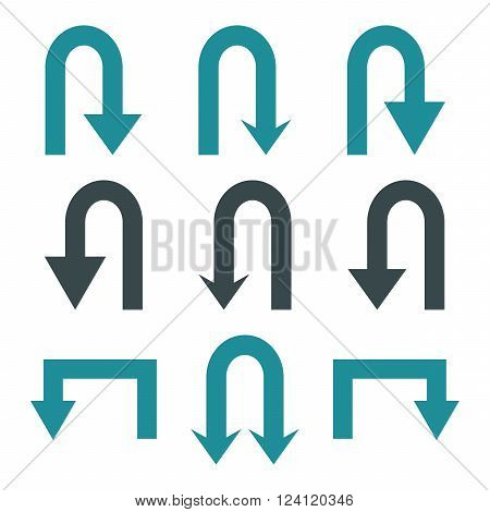 Turn Back Arrows vector icon set. Collection style is bicolor soft blue flat symbols on a white background. Turn Back Arrows icons.
