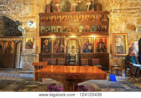 PAPHOS, CYPRUS - MARCH 17, 2016: Interior of early Byzantine Chrysopolitissa church (Agia Kyriaki Chrysopolitissa) in Kato Paphos, Cyprus