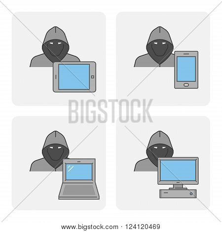 Line design concept online theft and cyber thief. Vector set icons online theft. Modern isolated symbol internet theft.
