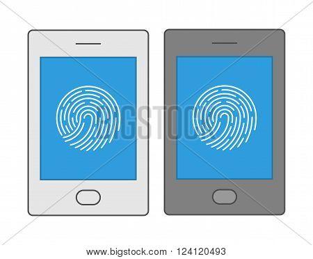 Line design symbol fingerprint smartphone. Vector icons biometric smartphone protection.