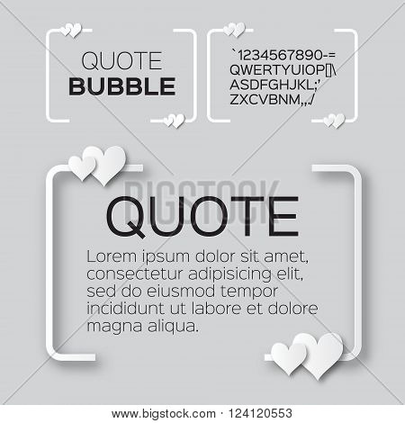 Quote bubble with hearts. Valentine's Speech bubble. Paper cut style citation text box template. Applique Quote blank. Text commas-hearts quote and note. Motivation and inspiration.