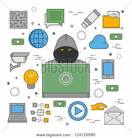 Modern concept of crimes in the area online. Hackers and cyber criminals online. Symbol of hackers and Internet crimes.